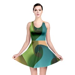 Ribbons Of Blue Aqua Green And Orange Woven Into A Curved Shape Form This Background Reversible Skater Dress