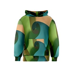 Ribbons Of Blue Aqua Green And Orange Woven Into A Curved Shape Form This Background Kids  Pullover Hoodie