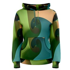 Ribbons Of Blue Aqua Green And Orange Woven Into A Curved Shape Form This Background Women s Pullover Hoodie