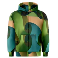 Ribbons Of Blue Aqua Green And Orange Woven Into A Curved Shape Form This Background Men s Zipper Hoodie