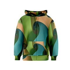 Ribbons Of Blue Aqua Green And Orange Woven Into A Curved Shape Form This Background Kids  Zipper Hoodie