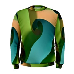 Ribbons Of Blue Aqua Green And Orange Woven Into A Curved Shape Form This Background Men s Sweatshirt