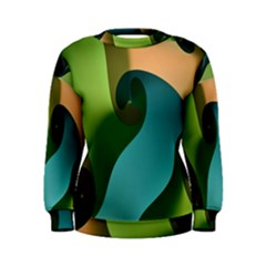 Ribbons Of Blue Aqua Green And Orange Woven Into A Curved Shape Form This Background Women s Sweatshirt