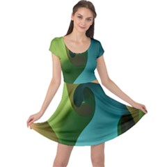 Ribbons Of Blue Aqua Green And Orange Woven Into A Curved Shape Form This Background Cap Sleeve Dresses