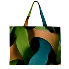 Ribbons Of Blue Aqua Green And Orange Woven Into A Curved Shape Form This Background Zipper Mini Tote Bag