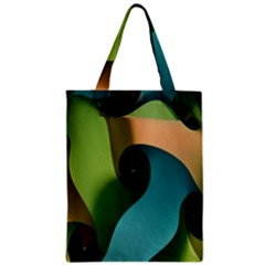 Ribbons Of Blue Aqua Green And Orange Woven Into A Curved Shape Form This Background Zipper Classic Tote Bag