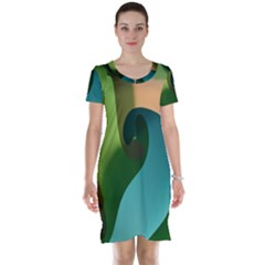 Ribbons Of Blue Aqua Green And Orange Woven Into A Curved Shape Form This Background Short Sleeve Nightdress