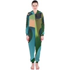 Ribbons Of Blue Aqua Green And Orange Woven Into A Curved Shape Form This Background Hooded Jumpsuit (ladies)