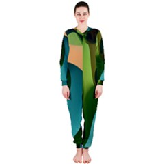 Ribbons Of Blue Aqua Green And Orange Woven Into A Curved Shape Form This Background OnePiece Jumpsuit (Ladies)