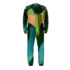 Ribbons Of Blue Aqua Green And Orange Woven Into A Curved Shape Form This Background Onepiece Jumpsuit (kids)