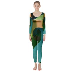 Ribbons Of Blue Aqua Green And Orange Woven Into A Curved Shape Form This Background Long Sleeve Catsuit