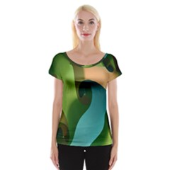 Ribbons Of Blue Aqua Green And Orange Woven Into A Curved Shape Form This Background Women s Cap Sleeve Top