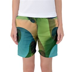 Ribbons Of Blue Aqua Green And Orange Woven Into A Curved Shape Form This Background Women s Basketball Shorts