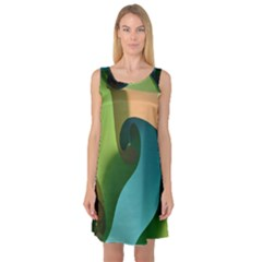 Ribbons Of Blue Aqua Green And Orange Woven Into A Curved Shape Form This Background Sleeveless Satin Nightdress