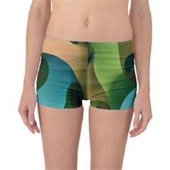 Ribbons Of Blue Aqua Green And Orange Woven Into A Curved Shape Form This Background Boyleg Bikini Bottoms