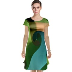 Ribbons Of Blue Aqua Green And Orange Woven Into A Curved Shape Form This Background Cap Sleeve Nightdress