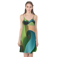 Ribbons Of Blue Aqua Green And Orange Woven Into A Curved Shape Form This Background Camis Nightgown