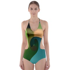 Ribbons Of Blue Aqua Green And Orange Woven Into A Curved Shape Form This Background Cut Out One Piece Swimsuit