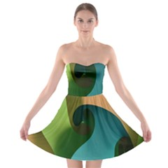 Ribbons Of Blue Aqua Green And Orange Woven Into A Curved Shape Form This Background Strapless Bra Top Dress