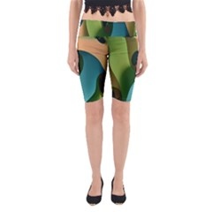 Ribbons Of Blue Aqua Green And Orange Woven Into A Curved Shape Form This Background Yoga Cropped Leggings