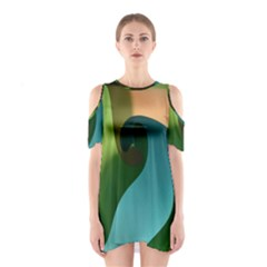 Ribbons Of Blue Aqua Green And Orange Woven Into A Curved Shape Form This Background Shoulder Cutout One Piece
