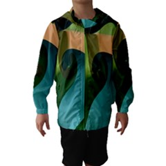 Ribbons Of Blue Aqua Green And Orange Woven Into A Curved Shape Form This Background Hooded Wind Breaker (kids)