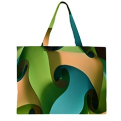 Ribbons Of Blue Aqua Green And Orange Woven Into A Curved Shape Form This Background Large Tote Bag