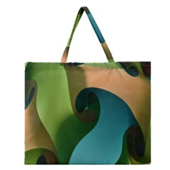 Ribbons Of Blue Aqua Green And Orange Woven Into A Curved Shape Form This Background Zipper Large Tote Bag