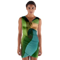 Ribbons Of Blue Aqua Green And Orange Woven Into A Curved Shape Form This Background Wrap Front Bodycon Dress