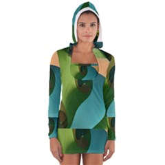 Ribbons Of Blue Aqua Green And Orange Woven Into A Curved Shape Form This Background Women s Long Sleeve Hooded T-shirt