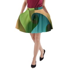 Ribbons Of Blue Aqua Green And Orange Woven Into A Curved Shape Form This Background A-Line Pocket Skirt