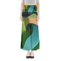 Ribbons Of Blue Aqua Green And Orange Woven Into A Curved Shape Form This Background Maxi Skirts
