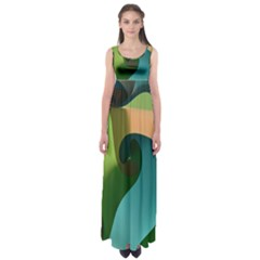 Ribbons Of Blue Aqua Green And Orange Woven Into A Curved Shape Form This Background Empire Waist Maxi Dress