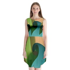 Ribbons Of Blue Aqua Green And Orange Woven Into A Curved Shape Form This Background Sleeveless Chiffon Dress