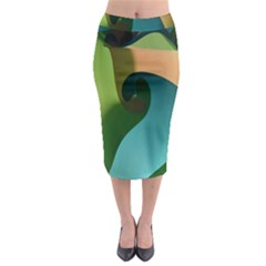Ribbons Of Blue Aqua Green And Orange Woven Into A Curved Shape Form This Background Midi Pencil Skirt