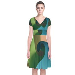 Ribbons Of Blue Aqua Green And Orange Woven Into A Curved Shape Form This Background Short Sleeve Front Wrap Dress