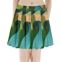 Ribbons Of Blue Aqua Green And Orange Woven Into A Curved Shape Form This Background Pleated Mini Skirt