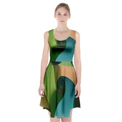 Ribbons Of Blue Aqua Green And Orange Woven Into A Curved Shape Form This Background Racerback Midi Dress