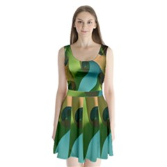 Ribbons Of Blue Aqua Green And Orange Woven Into A Curved Shape Form This Background Split Back Mini Dress