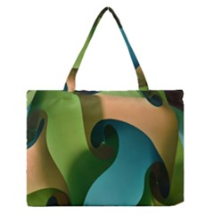 Ribbons Of Blue Aqua Green And Orange Woven Into A Curved Shape Form This Background Medium Zipper Tote Bag
