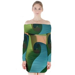Ribbons Of Blue Aqua Green And Orange Woven Into A Curved Shape Form This Background Long Sleeve Off Shoulder Dress