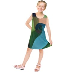 Ribbons Of Blue Aqua Green And Orange Woven Into A Curved Shape Form This Background Kids  Tunic Dress