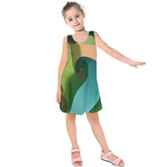 Ribbons Of Blue Aqua Green And Orange Woven Into A Curved Shape Form This Background Kids  Sleeveless Dress