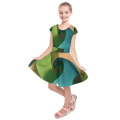Ribbons Of Blue Aqua Green And Orange Woven Into A Curved Shape Form This Background Kids  Short Sleeve Dress