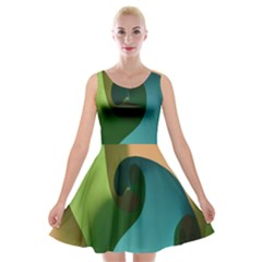 Ribbons Of Blue Aqua Green And Orange Woven Into A Curved Shape Form This Background Velvet Skater Dress