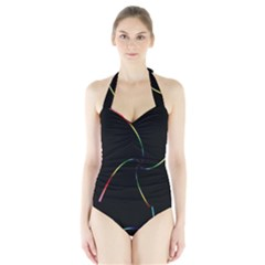 Digital Computer Graphic Halter Swimsuit