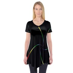 Digital Computer Graphic Short Sleeve Tunic