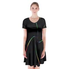 Digital Computer Graphic Short Sleeve V-neck Flare Dress