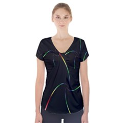 Digital Computer Graphic Short Sleeve Front Detail Top