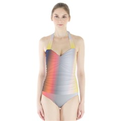 Digitally Created Abstract Colour Blur Background Halter Swimsuit